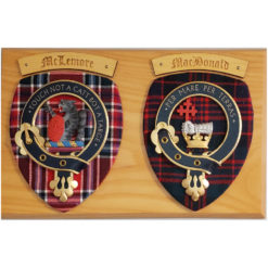 Double Scottish Mounted Belted Crests with Tartan Shields