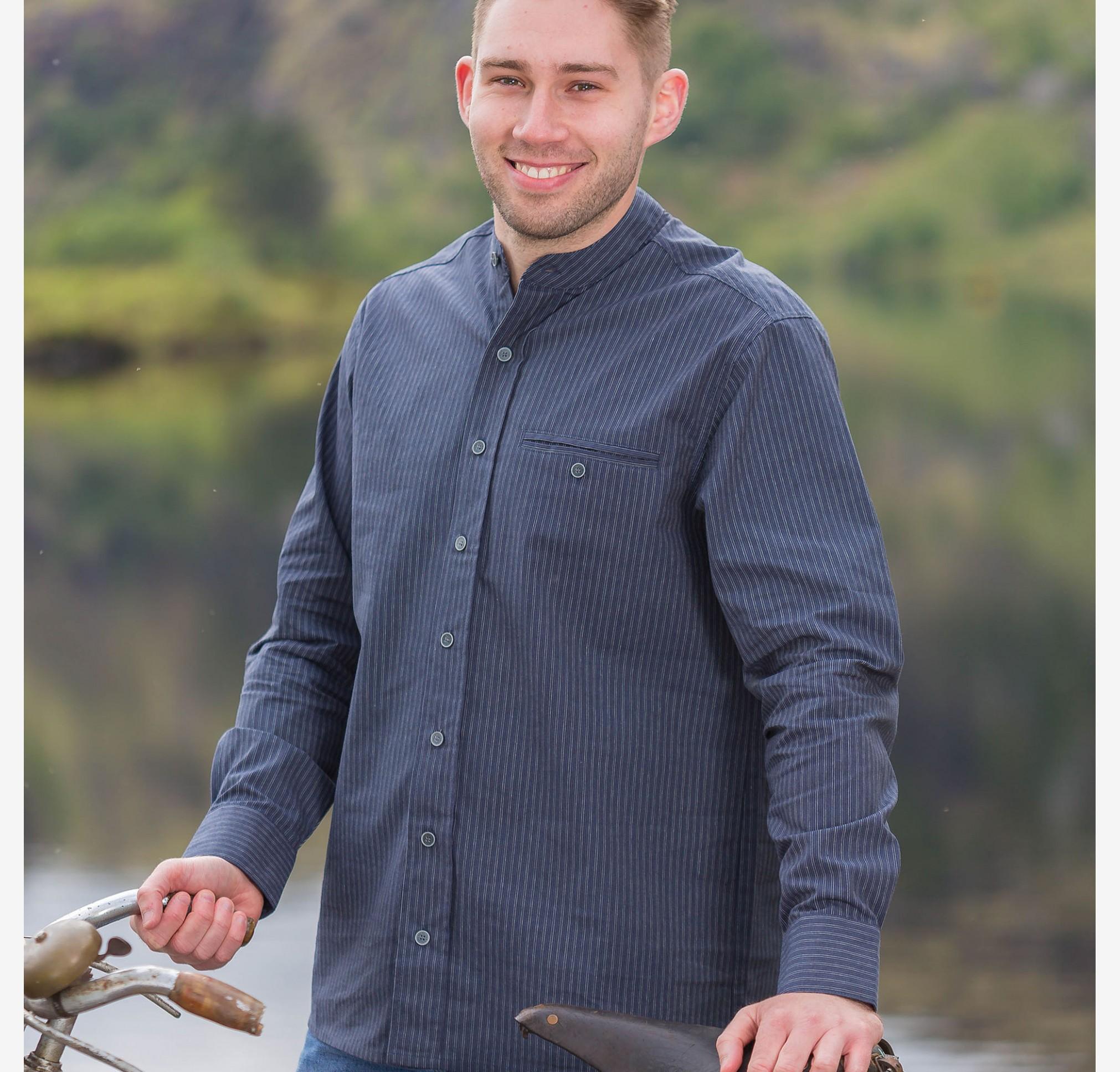 Navy Striped FL18 Comfort Cotton Grandfather Shirt