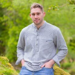 Flannel Blue Solid Stripe LVC Grandfather Shirt Irish collarless