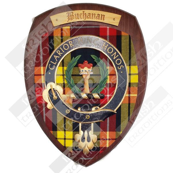 SIngle Scottish Mounted Belted Shields Cherry Wood