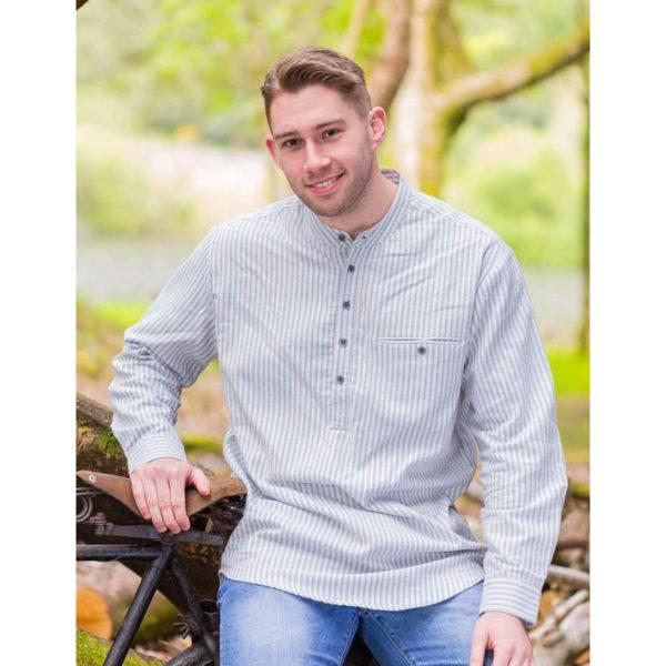 Flannel Green Cream Stripe LVD Grandfather Shirt Irish collarless