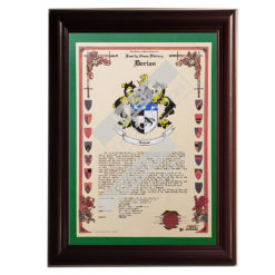 Heraldry Coat of Arms Sample Celebration Scroll - Framed Cherry with Green