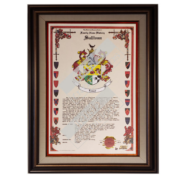 Heraldry Coat of Arms Sample Celebration Scroll - Framed Bronze Linen with Red