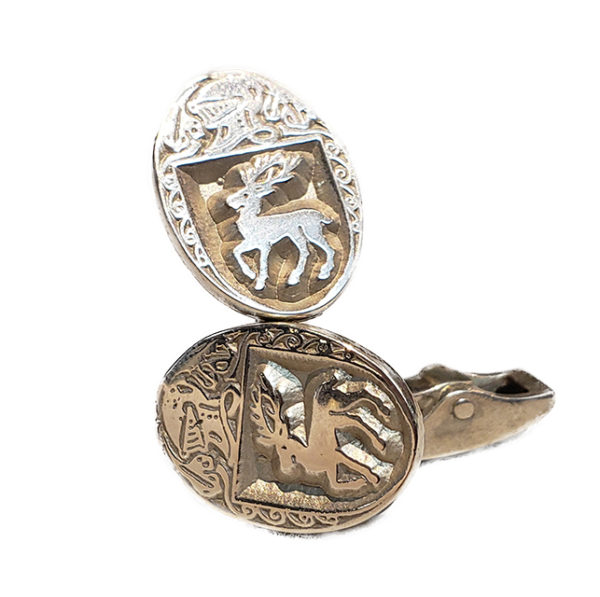 Heraldry Cufflinks Small Oval Stag Silver