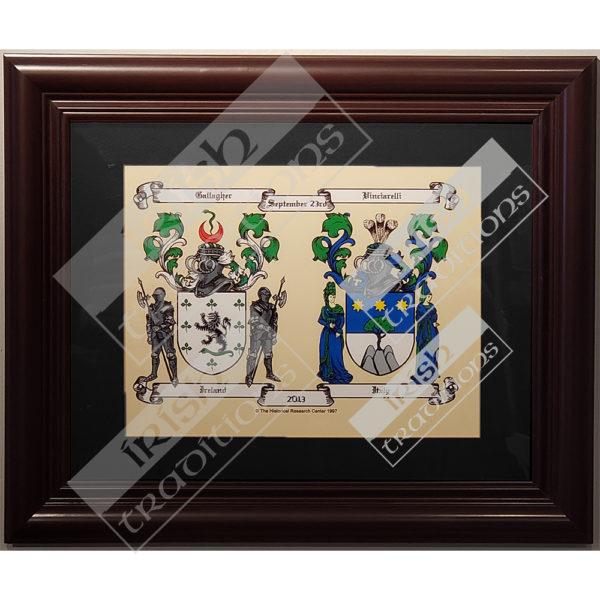 Double Coat of Arms Print Black Matting