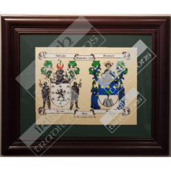 Double Coat of Arms Print Green Matting