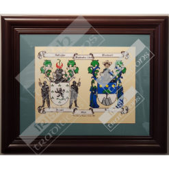 Double Coat of Arms Print Teal Matting