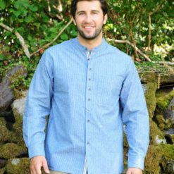 Vintage Blue Striped Comfort Cotton Grandfather Shirt