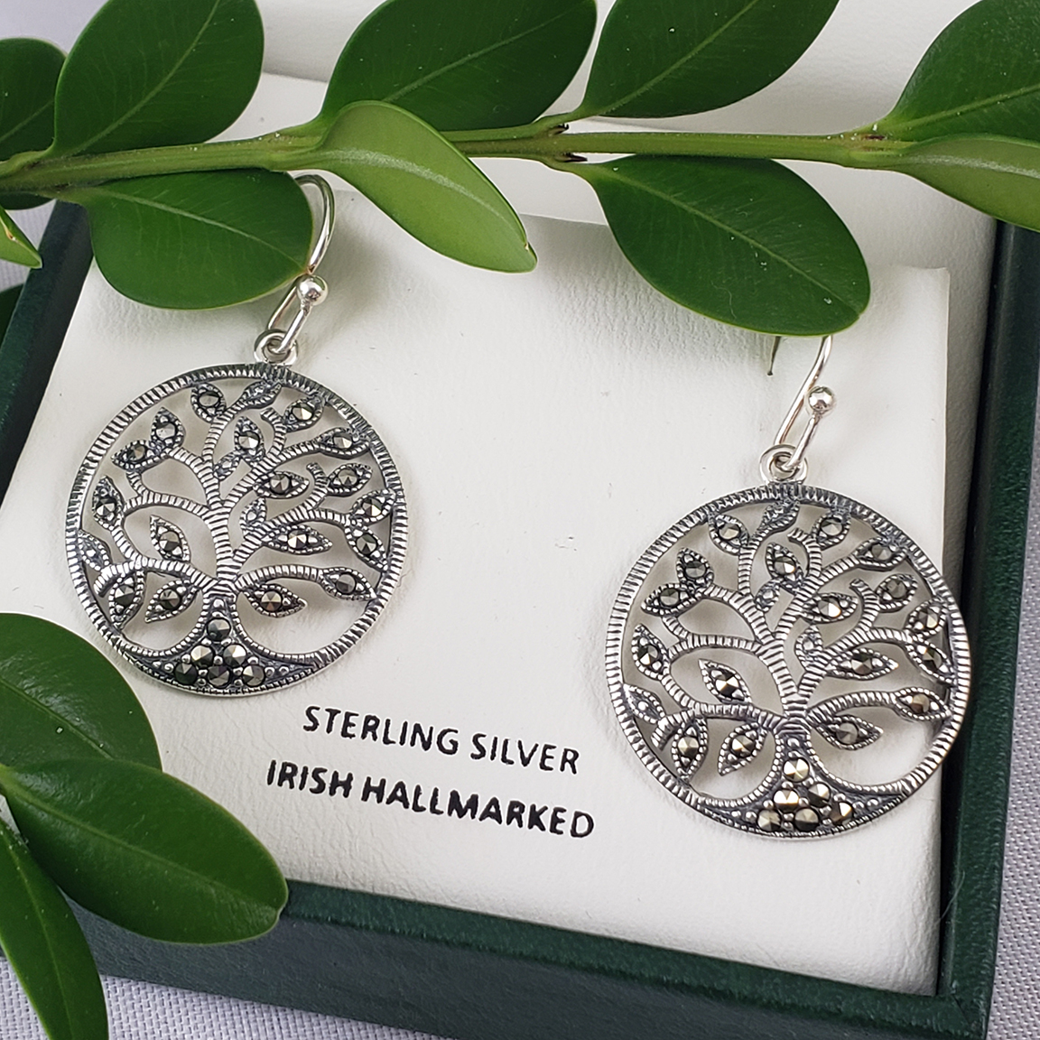 Anu2060 Marcasite Tree of Life Earrings