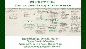 Highlighted Irish Signatures on the Declaration of Independence