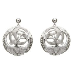 Children of Lir 3D Round Drop Earrings TJH Sterling Silver Modern