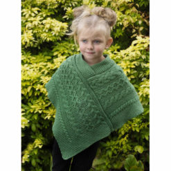 Child's Merino Poncho Marl Green