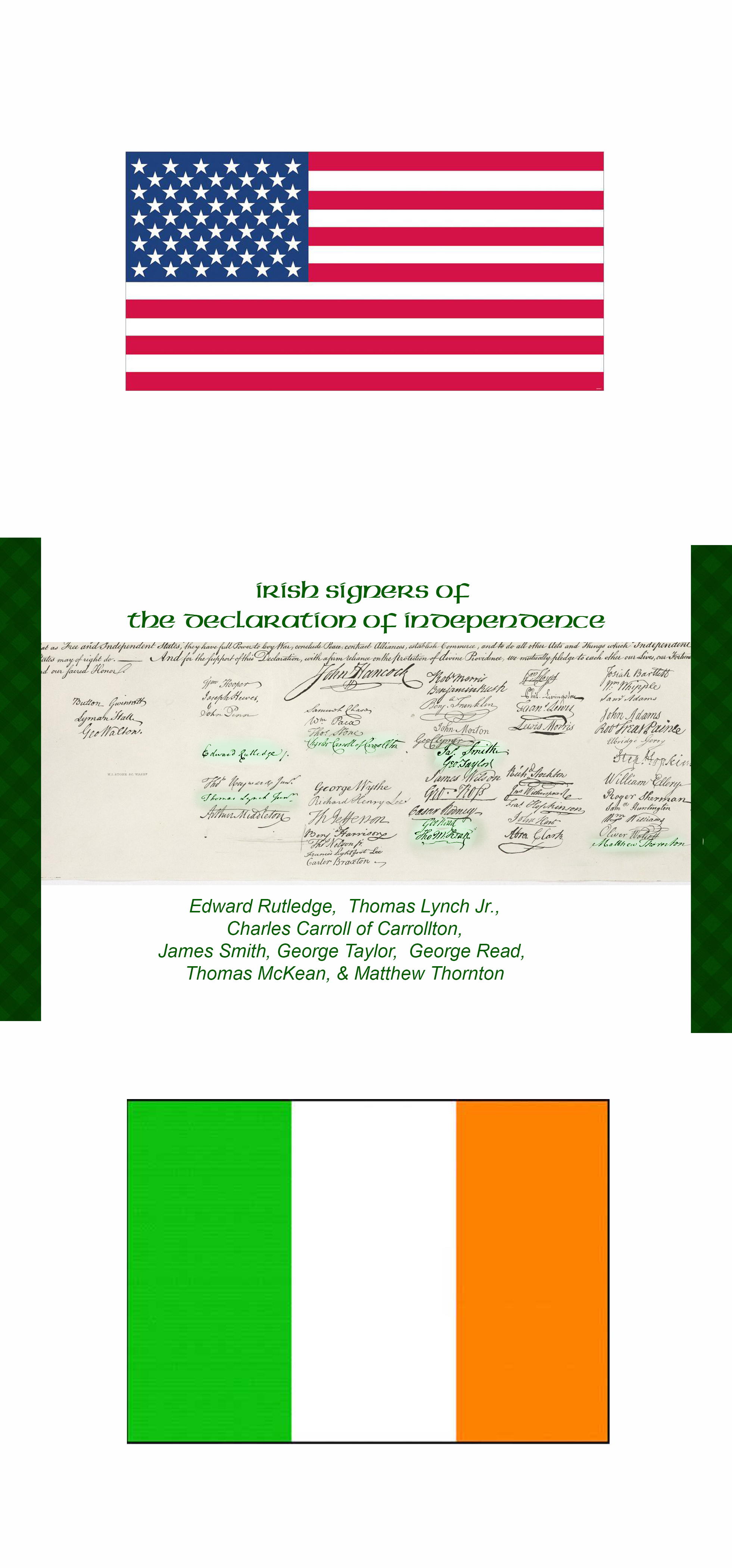 American Grown Irish Roots Highlighted Irish Signatures on the Declaration of Independence