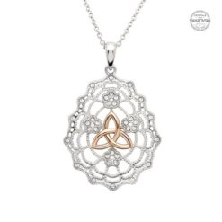 Irish Lace Rose Gold Trinity Knot Necklace SW172