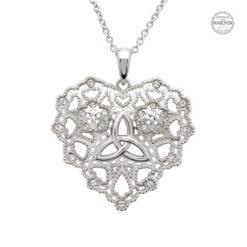 Irish Lace Heart Trinity Necklace Pendant Swarovski