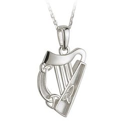 Sterling Silver Harp with Trinity Knots Pendant Solvar Necklace