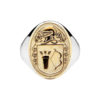 Heavy Oval Coat of Arms Ring Sterling Silver 10K Gold