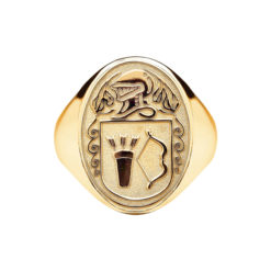 Heavy Oval Coat of Arms Ring Yellow Gold WebAG300-Y