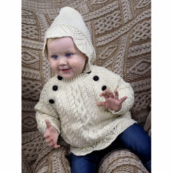 Baby Model wearing an Irish lace knit hoody sweater with football buttons