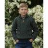Child's Merino Half Zip Sweater Army Green