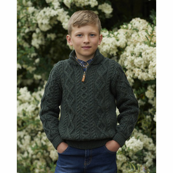 Child's Merino Half Zip Sweater Army Green
