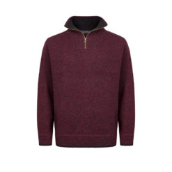 A227H Half Zip Sweater in Claret Marl with Charcoal Contrast