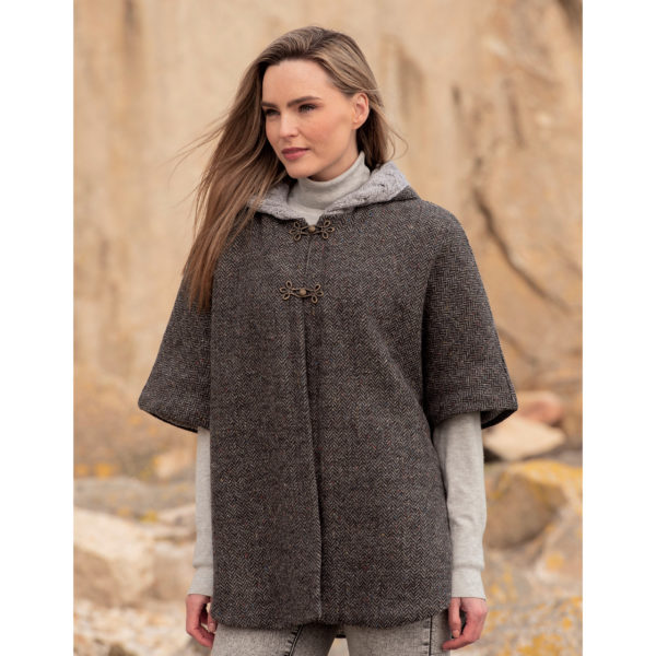 CHARCOAL Tweed Aran Hooded Cape
