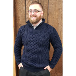 Dromore Aran Troyer Available in Navy, Sizes M - XXL. 100% Merino Wool. Made in Ireland.