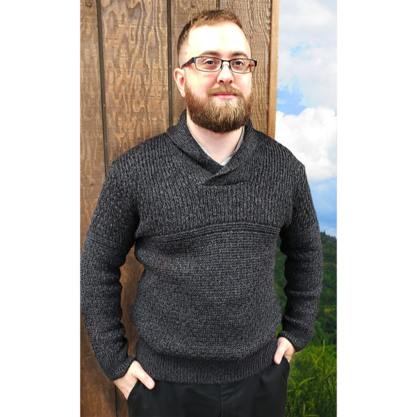 Fanore Shawl Collar Pullover Modeled Merino Wool Menswear Anthracite