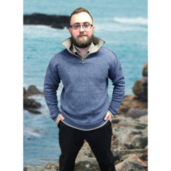 Half Zip Heathered Pullover Blue Stone Modeled