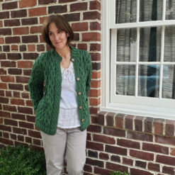 Modeled Green Two-Toned Plaited Celtic Cardigan Generous Fit Cozy Layering
