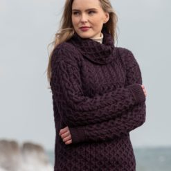Cowl Neck Patchwork Sweater Plum N113 Nua Super Soft Merino Wool Made in Ireland