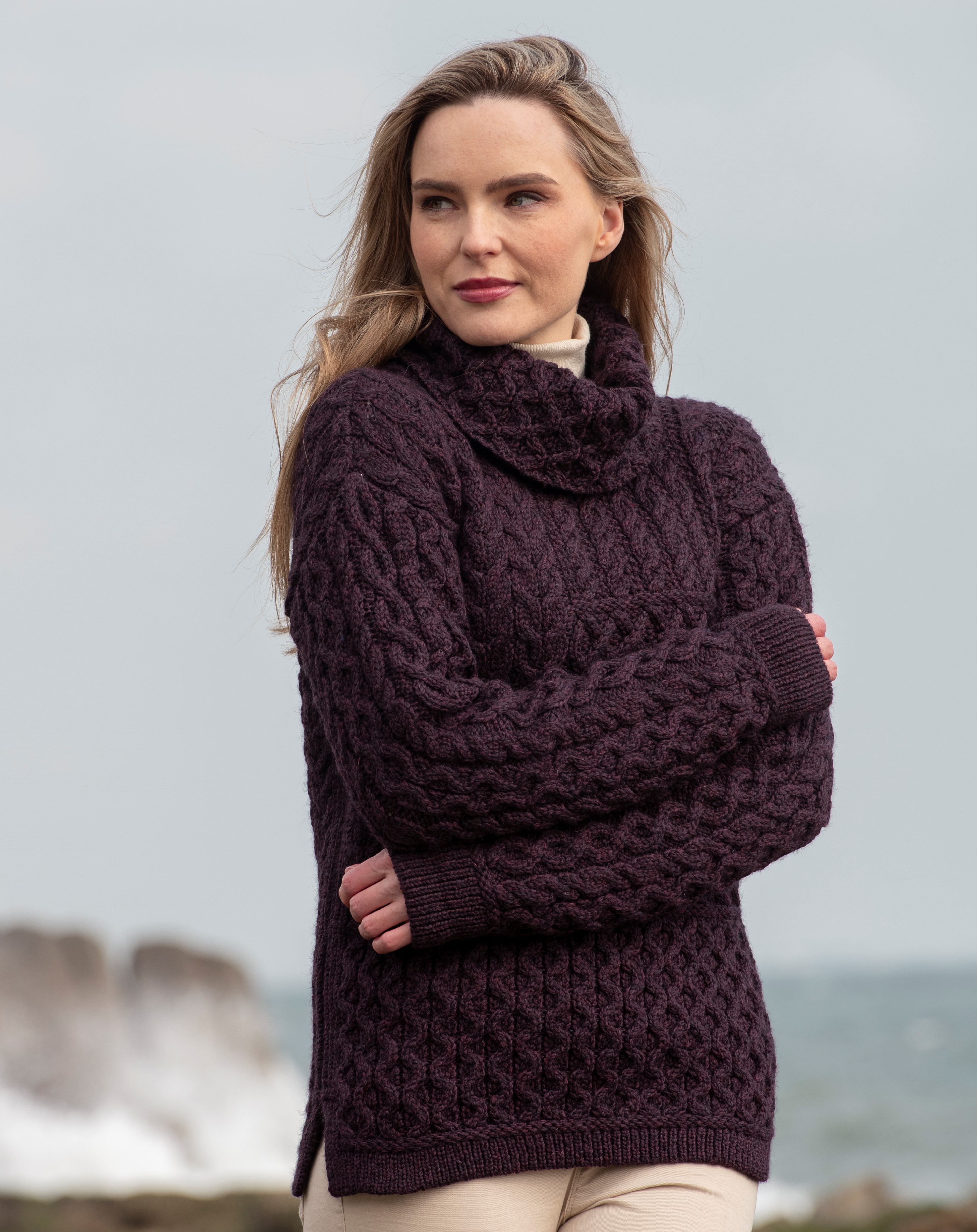 Cowl Neck Patchwork Sweater Plum N113 Nua Super Soft Merino Wool Made in Ireland