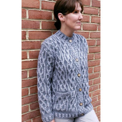 Grey Two-Toned Plaited Celtic Cardigan Generous Fit Cozy Layering
