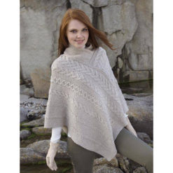 Natural Cable Waffle Stitch Poncho SH4272 Merino Wool