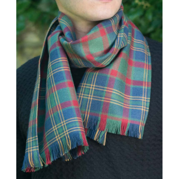Bespoke Modeled Scarf Wool Lightweight Tartan Scarf
