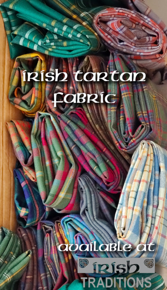 Irish County Tartan Fabric, Available by the Yard. Create Limitless Possibilities with your Irish Heritage. Irish Tartan Fabric Made In Scotland crafts tailored clothes Irish County Irish Traditions