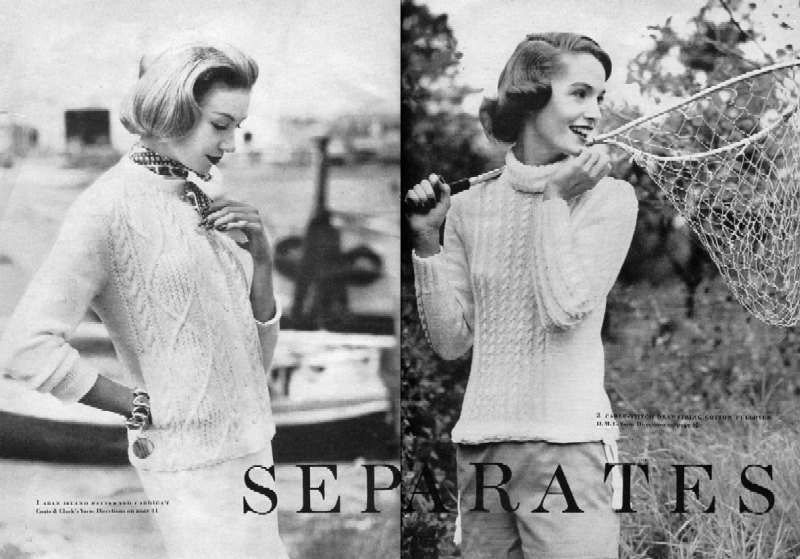 The First Vogue Spread featuring the Aran Sweater - Vogue Knitting 1957