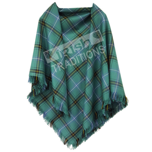 Example Shawl - Versatile Tartan Shawl green white yellow fringe watermarked