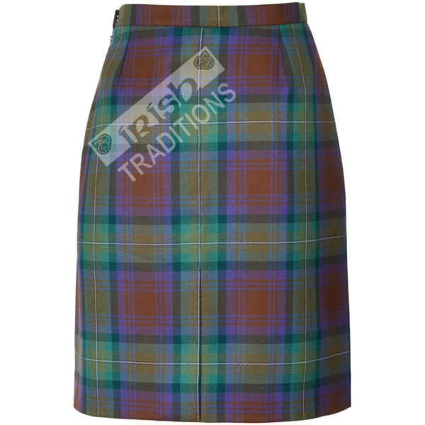 Back of Ladies' Tartan Laura Skirt Darted Single Vent Pencil Skirt Style
