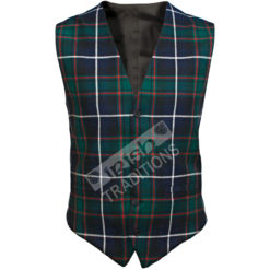 Fitted Front Men's Tartan Vest Wool Reiver Lightweight Fabric Custom Made Scotland