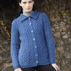 Blue Marl Classic Collared Cardigan 100% Merino Wool