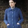 Blue Marl Classic Collared Cardigan 100% Merino Wool