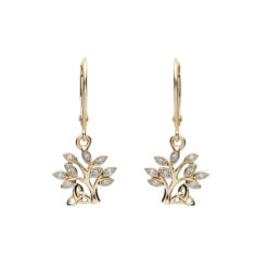 14K_14E676Tree of Life Diamond Drop Earrings in 14K Yellow Gold