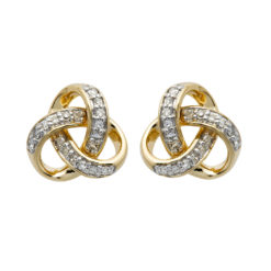 Round Trinity Knot Diamond Set Stud Earrings 14K Yellow Gold