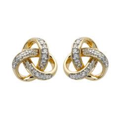 Round Trinity Knot Diamond Set Stud Earrings 14K Yellow Gold