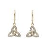 Trinity Diamond Drop Earrings 14K Gold Made in Ireland Gift