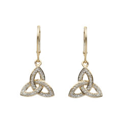 Trinity Diamond Drop Earrings 14K Gold Made in Ireland Gift