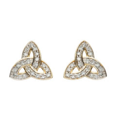 14K Trinity Knot Diamond Stud Earrings