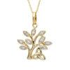 14K Tree of Life with Trinity Knot Diamond Set Pendant